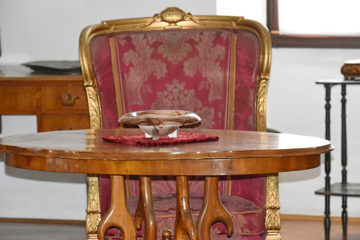 pepeljaru, barok, stolica, stari, dizajn interijera, drvo, namještaj, starinsko, sjedište, Tablica