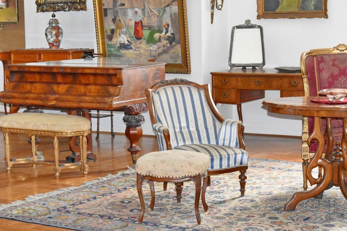 Barok, Ruang tamu, piano, perumahan, Meja, kursi, Kamar, kursi, Mebel, desain interior