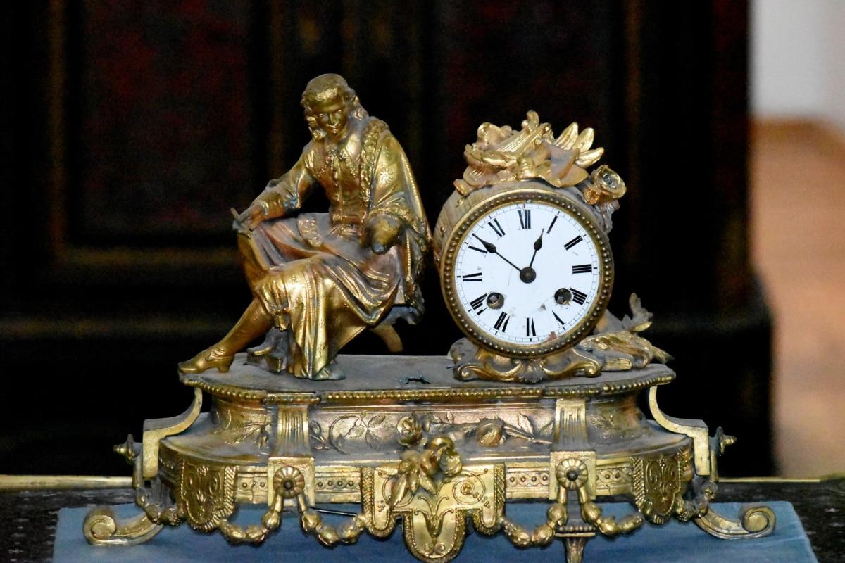 Zegar analogowy, antyk, barok, Mosiądz, luksusowe, Rzeźba, zegar, antyk, stary, brąz