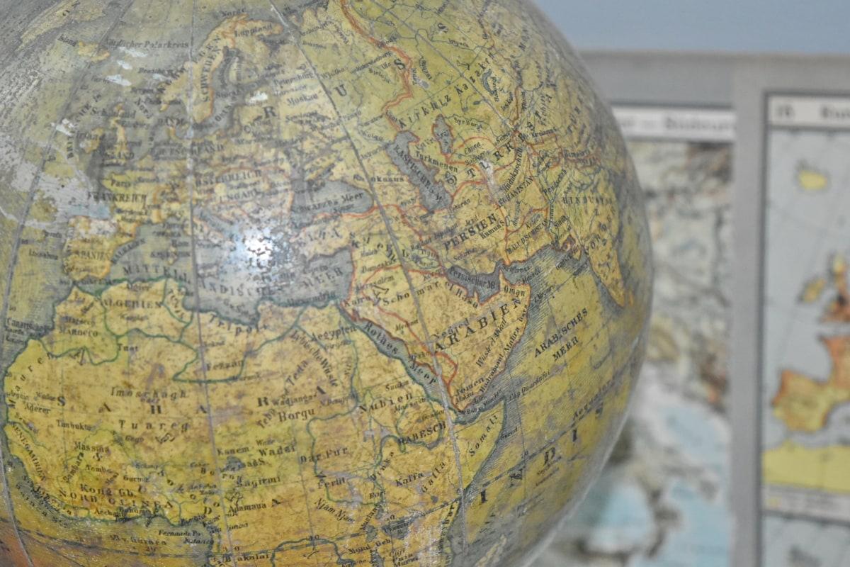 megjelenítése, földrajz, Globe, Föld, képviselet, atlasz, gömb, régi, hely, világ