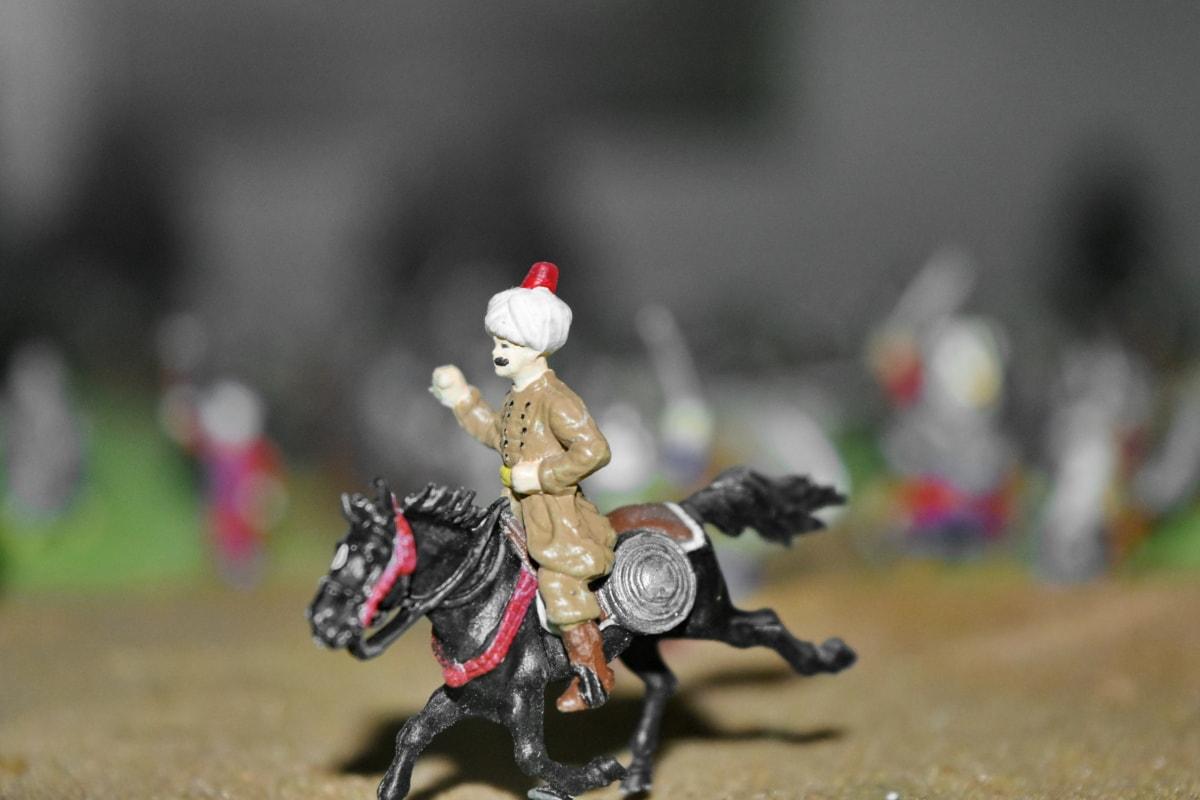 Bitka, bojovom poli, stredoveké, vojenské, Osmanskej, hračky, jazdectvo, muž, kôň, pohyb