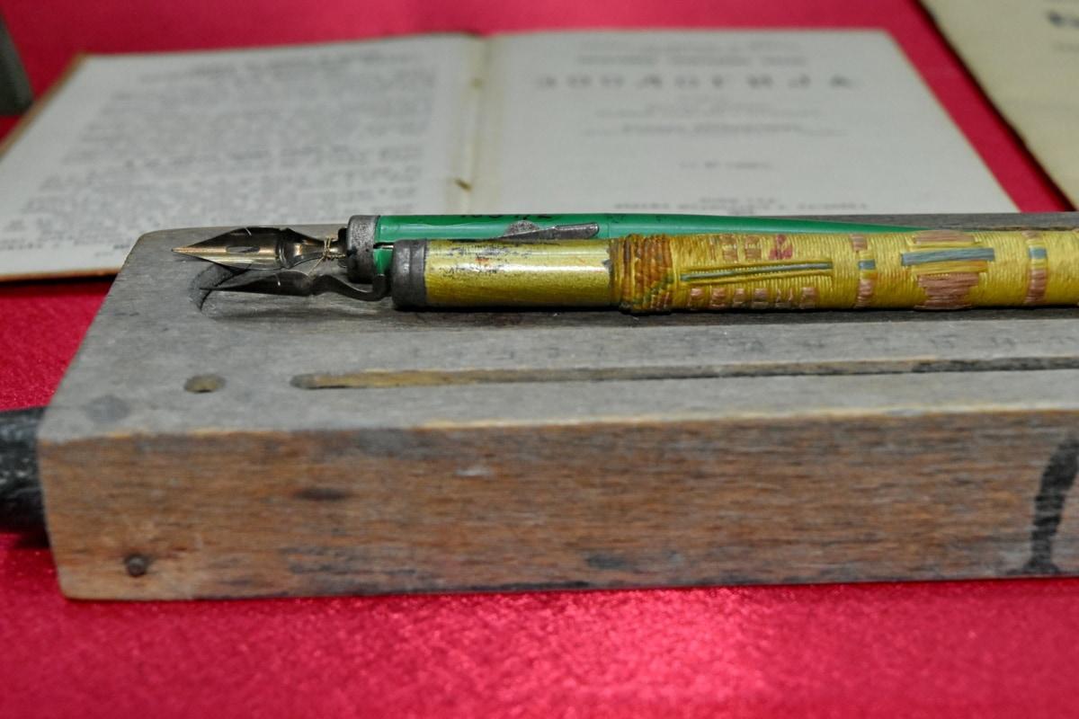 antiguidade, livro, madeira, papel, educação, escrevendo, tinta, velho, antiguidade, composição