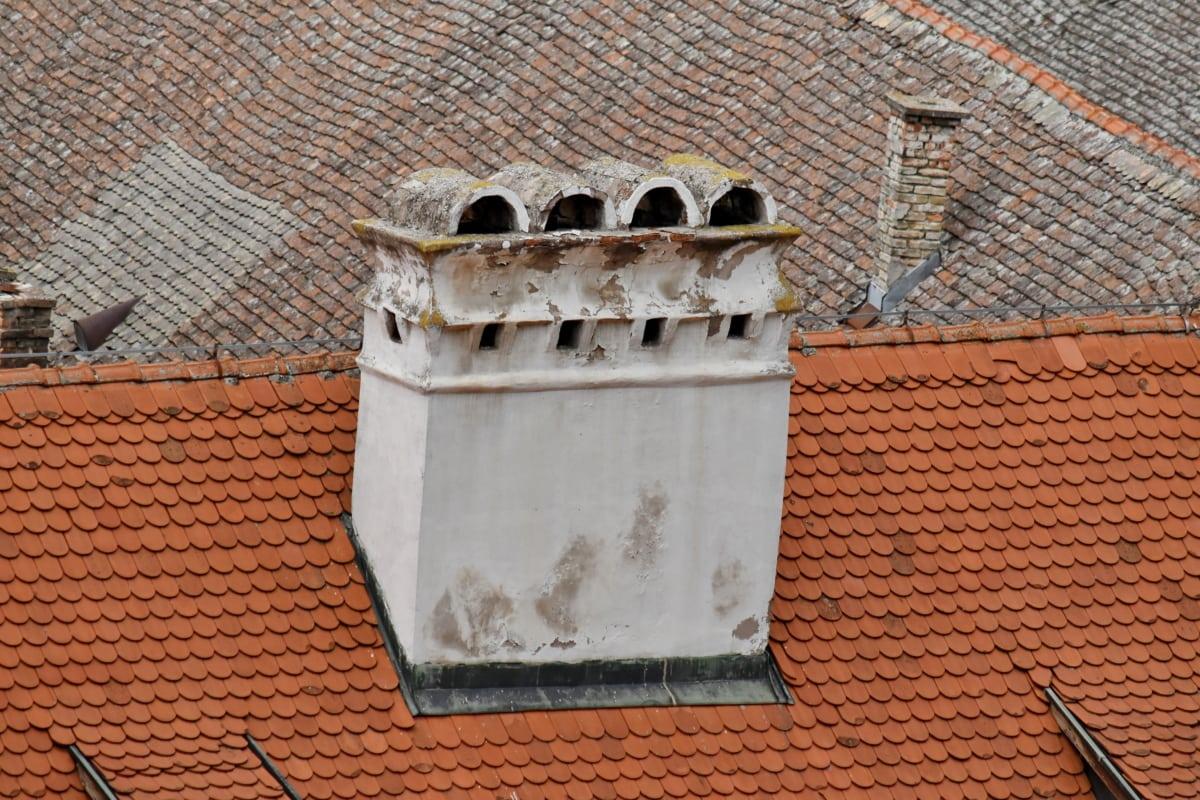 kémény, tető, tégla, építészet, épület, régi, városi, fal, csempe, ház