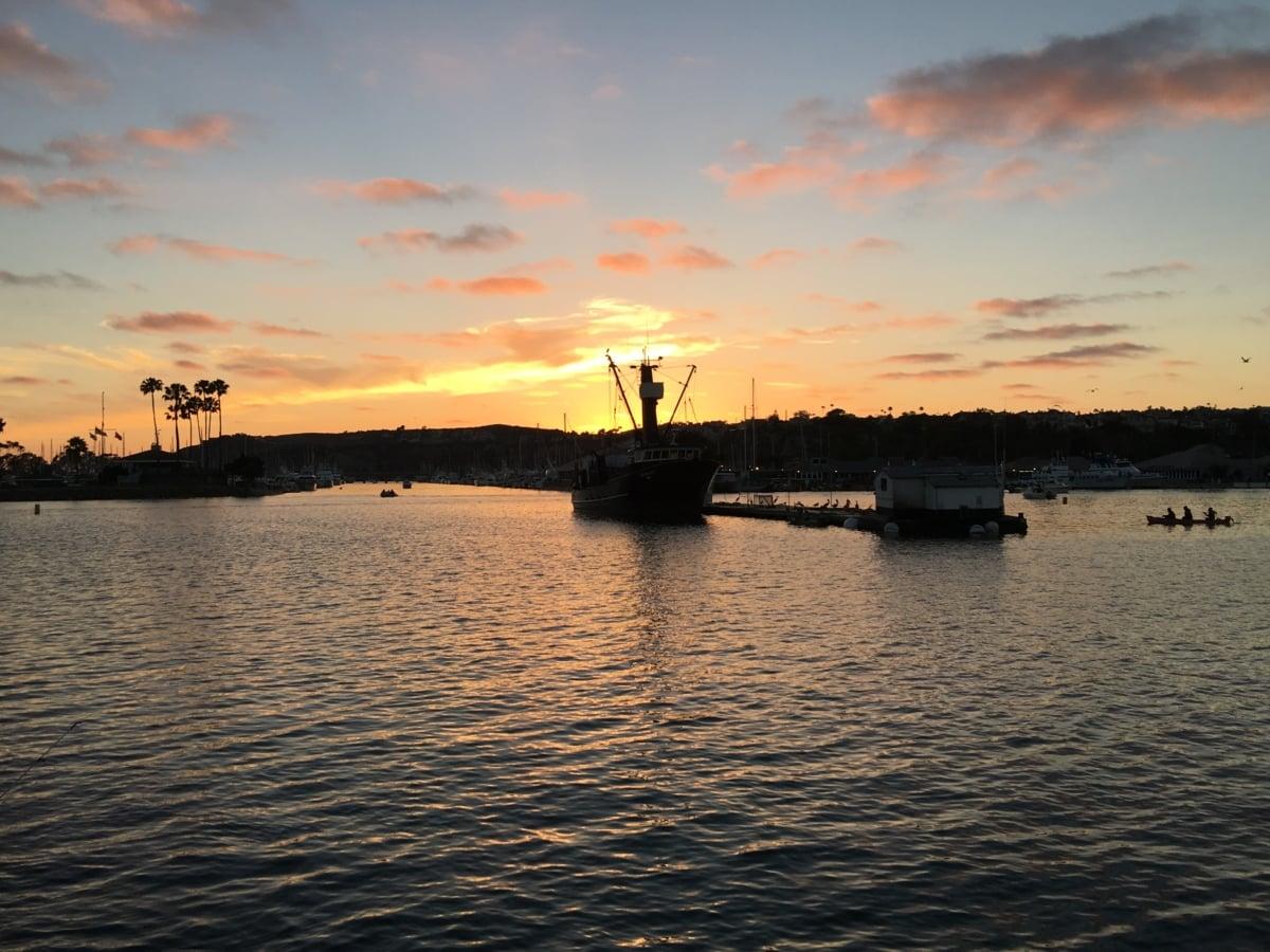 loď, Lodenica, západ slnka, more, voda, oceán, svitania, loďou, súmraku, večer
