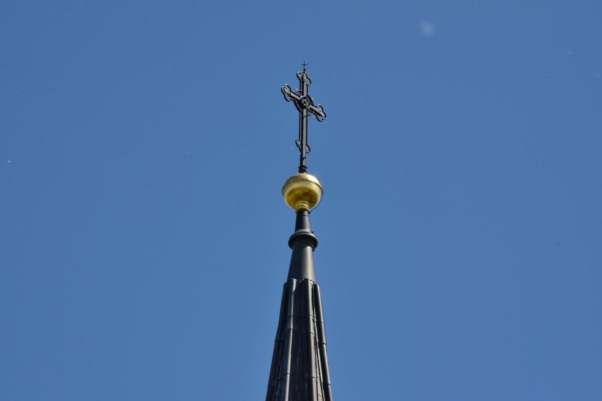 langit biru, menara gereja, objek wisata, bangunan, Gereja, agama, arsitektur, lama, seni, Kota