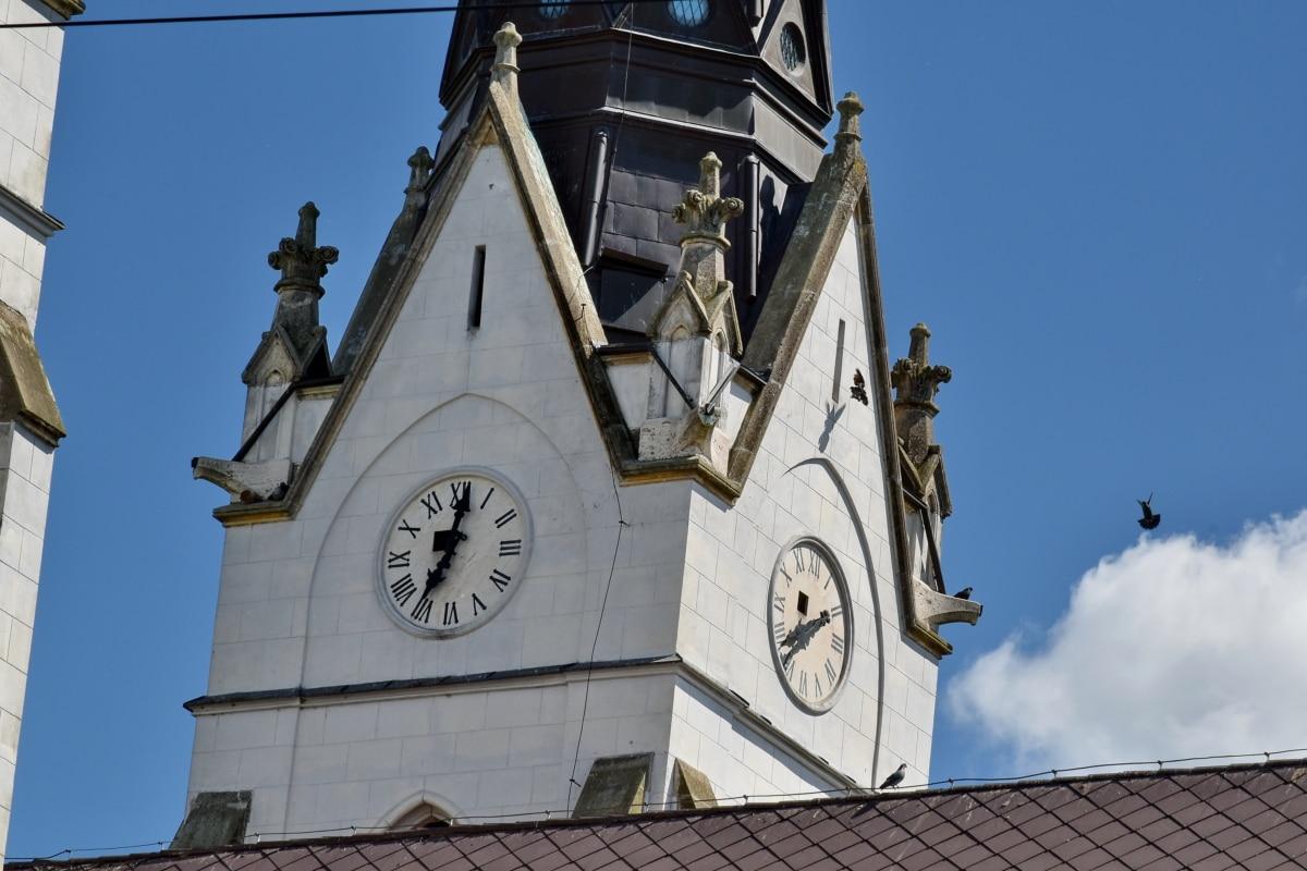 Голубое небо, христианство, Башня церков, Готика, Крыша, Башня, Церковь, указатель, рука, Построение