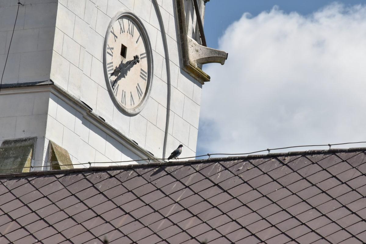 аналоговые часы, Башня церков, Архитектура, Будильник, Город, Построение, Крыша, Башня, окно, цикл