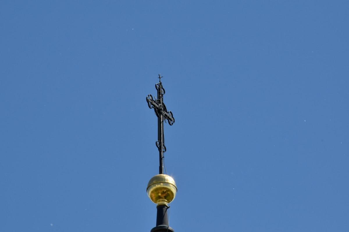 Mestská oblasť, Architektúra, staré, umenie, náboženstvo, vonku, mesto, kostol, modrá obloha, svetlo