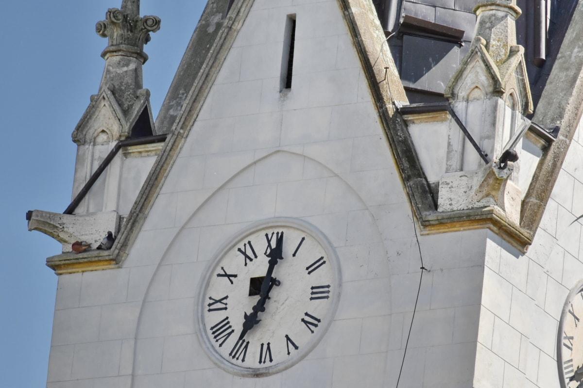 kirketårnet, klokke, fasade, Gotisk, marmor, timepiece, tårnet, arkitektur, pekeren, analog klokke