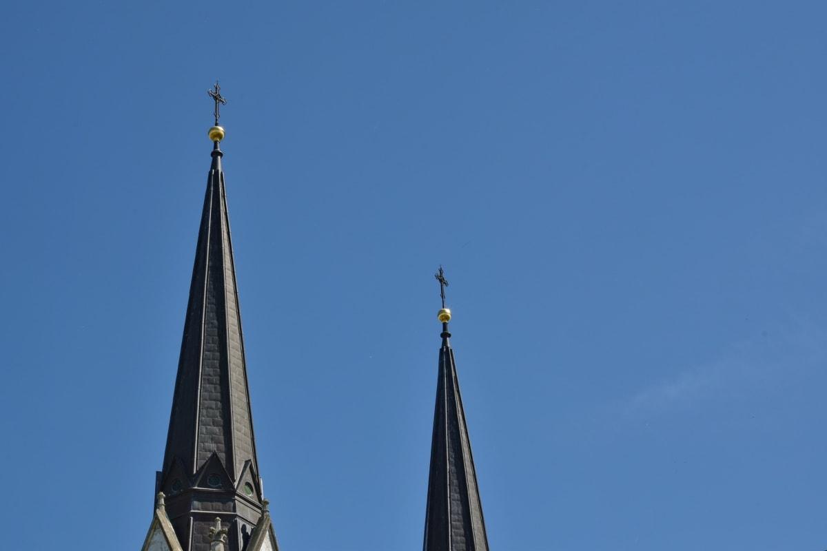 katolske, kirketårnet, kors, katedralen, arkitektur, enheten, kirke, religion, gamle, tårnet