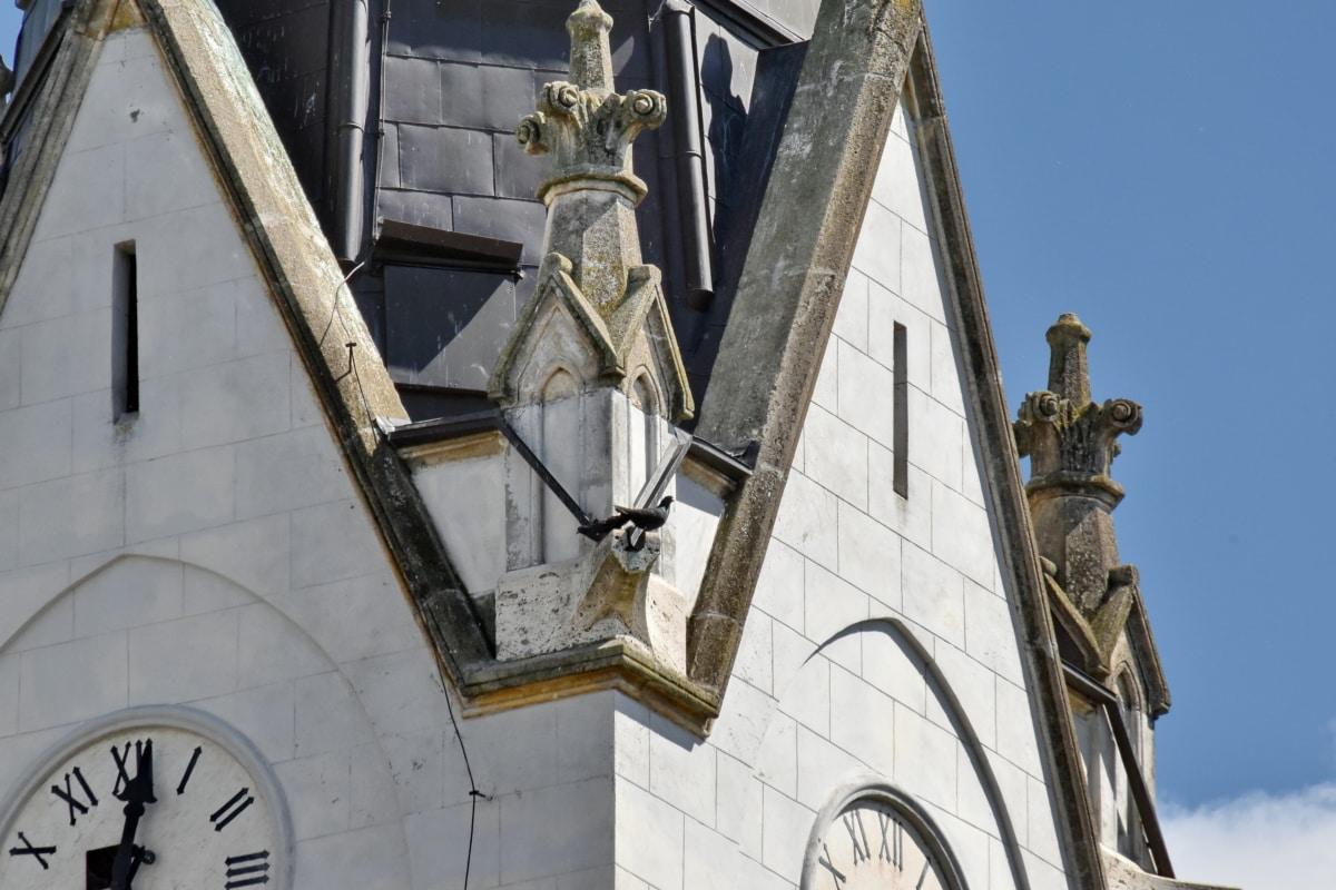 arkitektoniske stil, kristendom, kirketårnet, detaljer, Gotisk, arkitektur, kirke, struktur, klokke, gamle