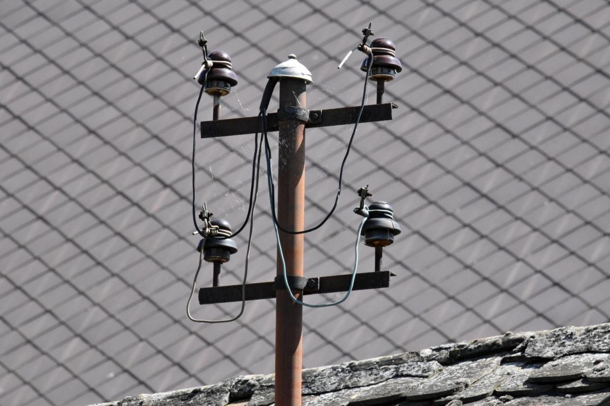 telhado, tensão, cabo, fio, eletricidade, alta, luz, velho, rua, ao ar livre