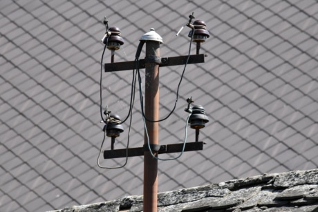 roof, voltage, cable, wire, electricity, high, light, old, street, outdoors
