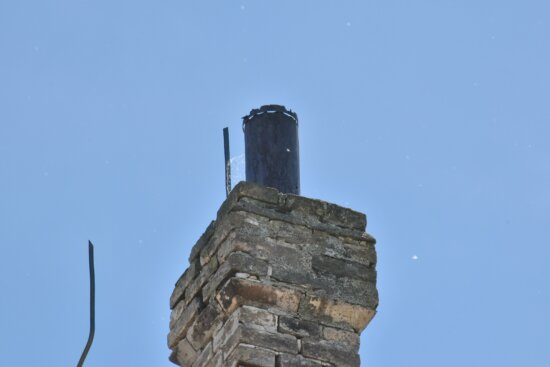 blue sky, bricks, chimney, tower, architecture, old, outdoors, pollution, building, high
