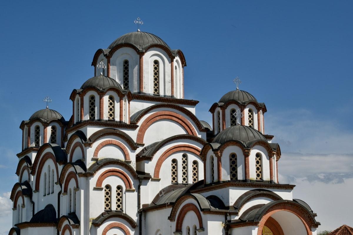 architecturale stijl, koepel, Kruis, oude, het platform, gevel, orthodoxe, kerk, Kathedraal, religie