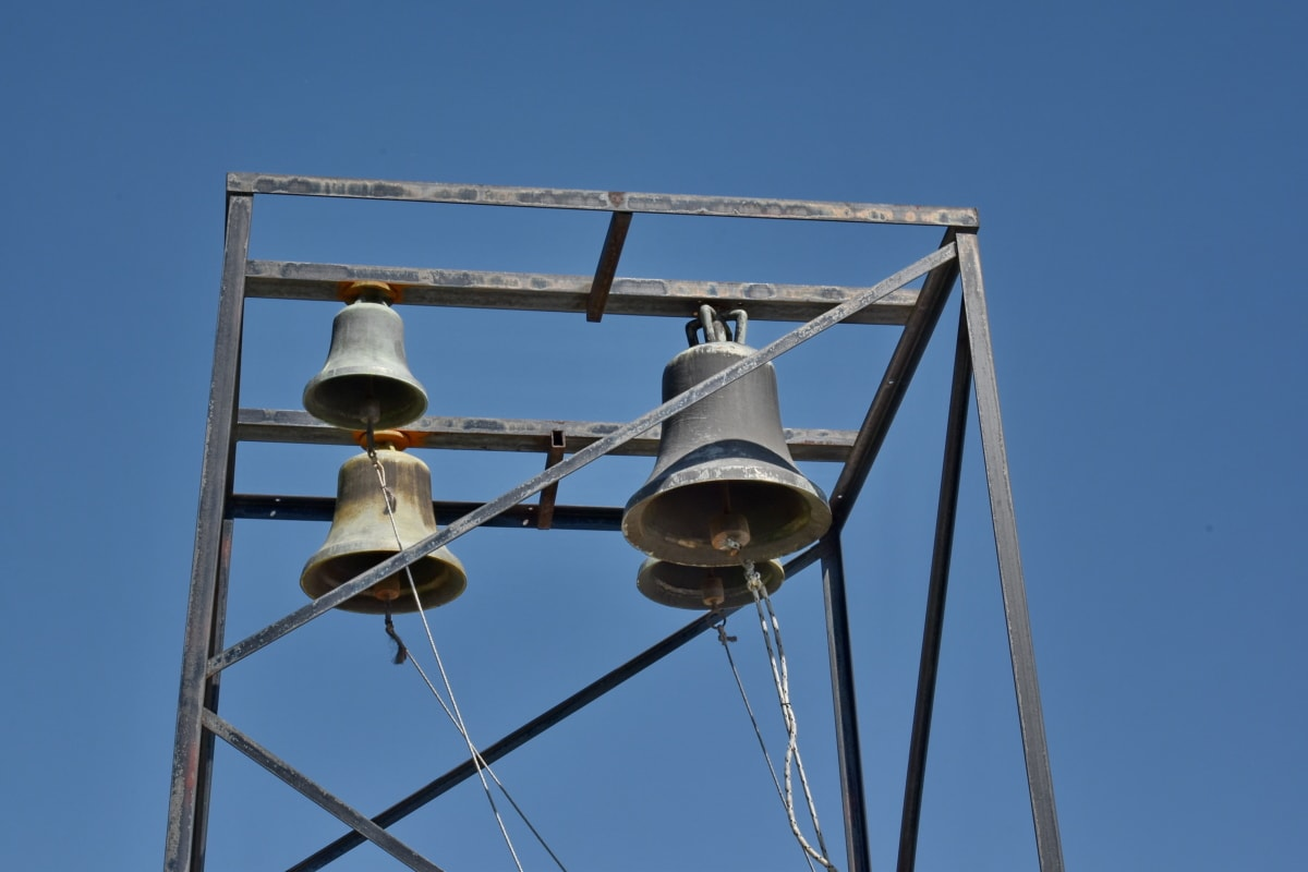 bell, bronze, cast iron, handmade, heritage, wire, high, steel, blue sky, old
