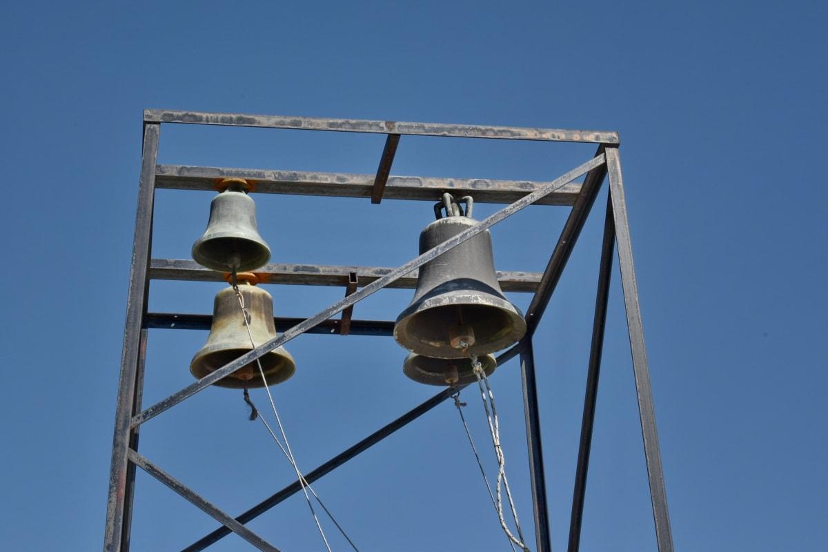 klokke, bronse, støpejern, håndlaget, kulturarv, metalltråd, høy, stål, blå himmel, gamle