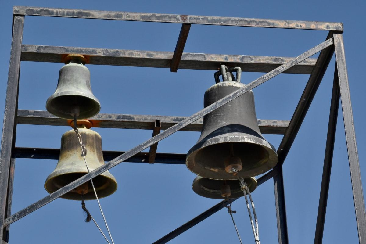 zvono, plavo nebo, lijevano željezo, kršćanstvo, samostan, industrija, stari, željezo, čelik, vješanje