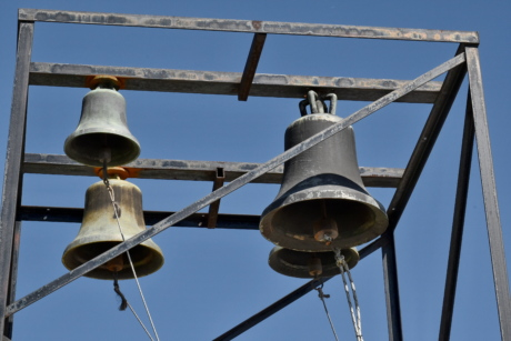 bell, blue sky, cast iron, christianity, monastery, industry, old, iron, steel, hanging