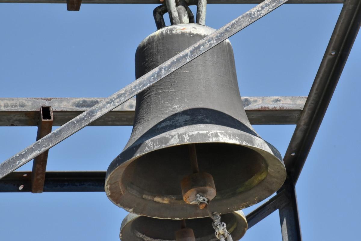 zvono, lijevano željezo, pravoslavlje, vjerske, stari, čelik, željezo, starinsko, arhitektura, na otvorenom
