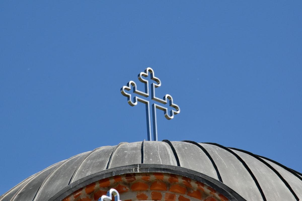 Голубое небо, Крест, купол, высокая, Построение, Церковь, Крыша, Архитектура, Религия, Старый