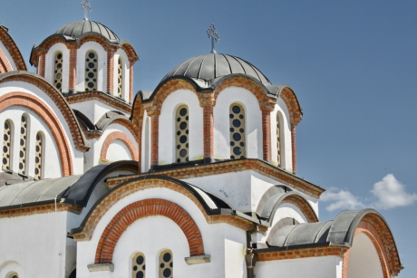 Byzantine, facade, monastery, sunshine, worship, dome, architecture, church, building, religion