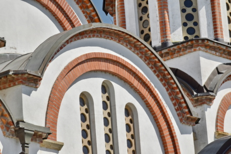 art, orthodox, windows, facade, church, building, dome, architecture, outdoors, traditional