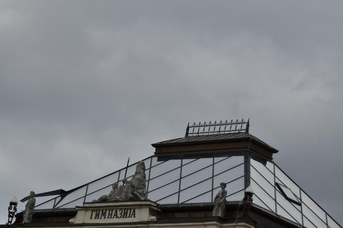 glas, dak, beeldhouwkunst, het platform, stad, buitenshuis, centrum, gebouw, oude, licht