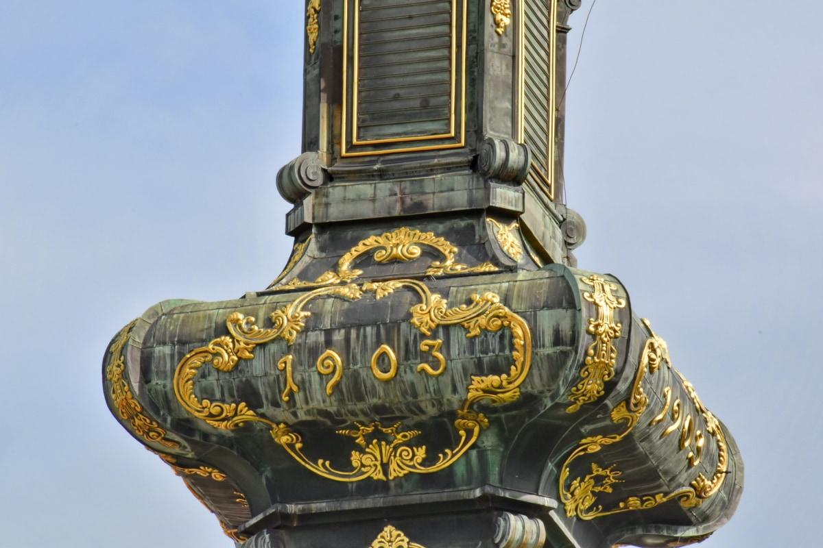 barokk, kirketårnet, håndlaget, gull, skulptur, kunst, arkitektur, kultur, gamle, tempelet