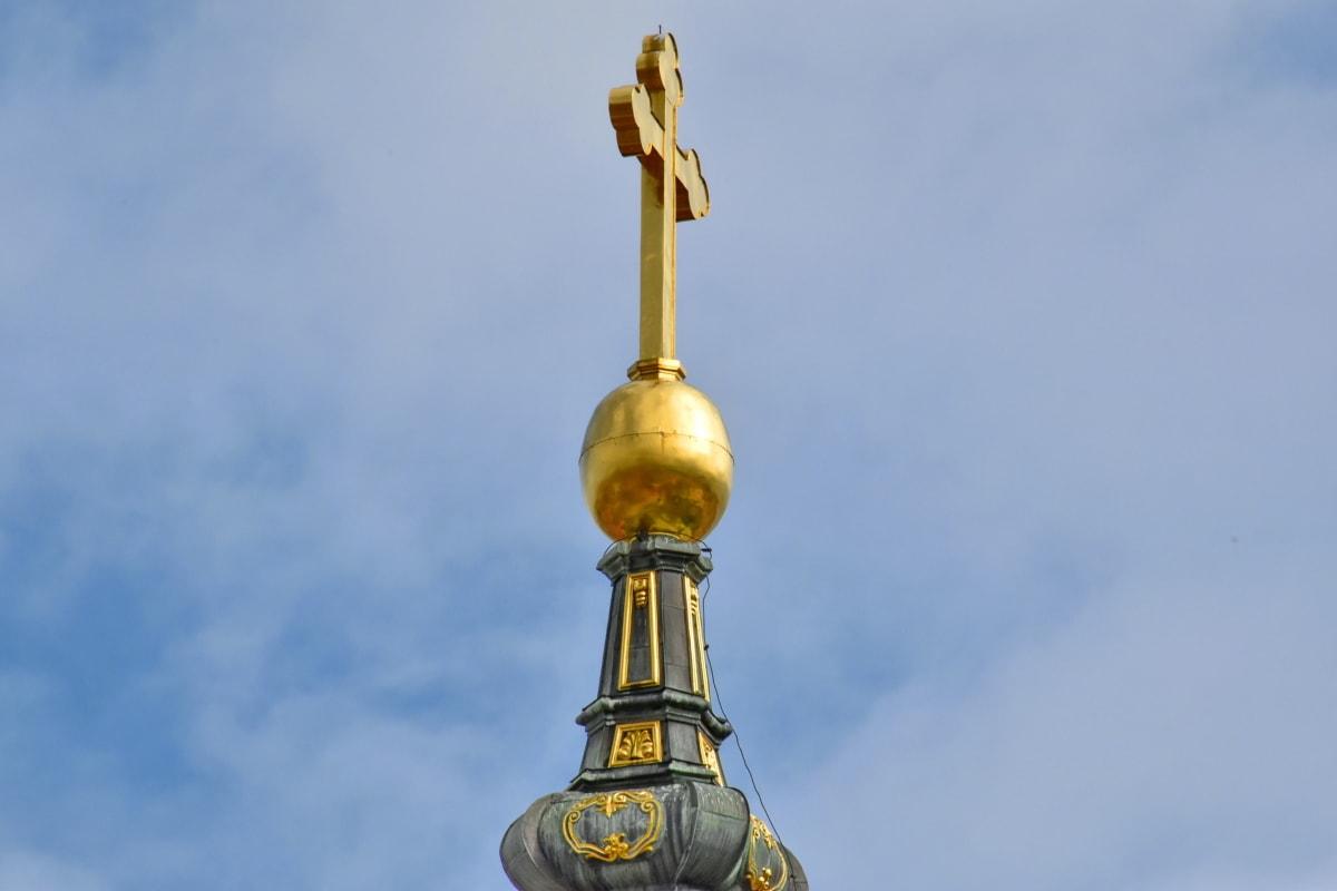 Cross, vàng, chiếu sáng, thờ phượng, tôn giáo, Nhà thờ, mái vòm, kiến trúc, cũ, ngoài trời