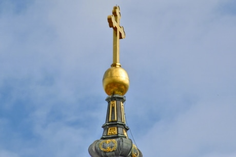 cross, gold, shining, worship, religion, church, dome, architecture, old, outdoors