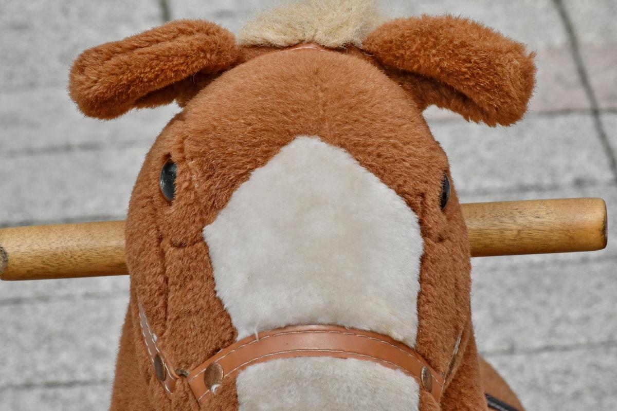 detalj, Rolig, häst, Utomhus, plysch, gata, leksaker, brun, leksak, ljus brun