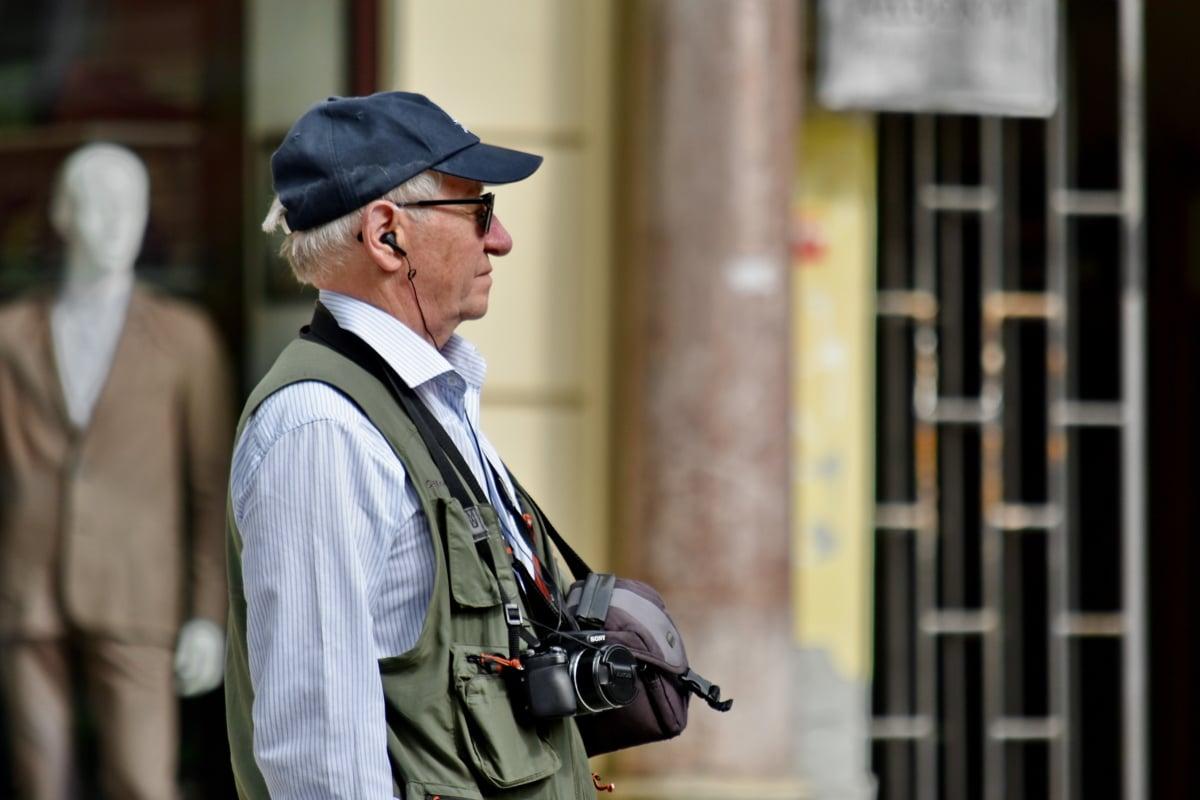 eldste, pensjonist, fotograf, stående, senior, siden, gate, person, lue, folk