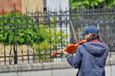 artist, musician, street, violin, man, outdoors, people, nature, summer, city