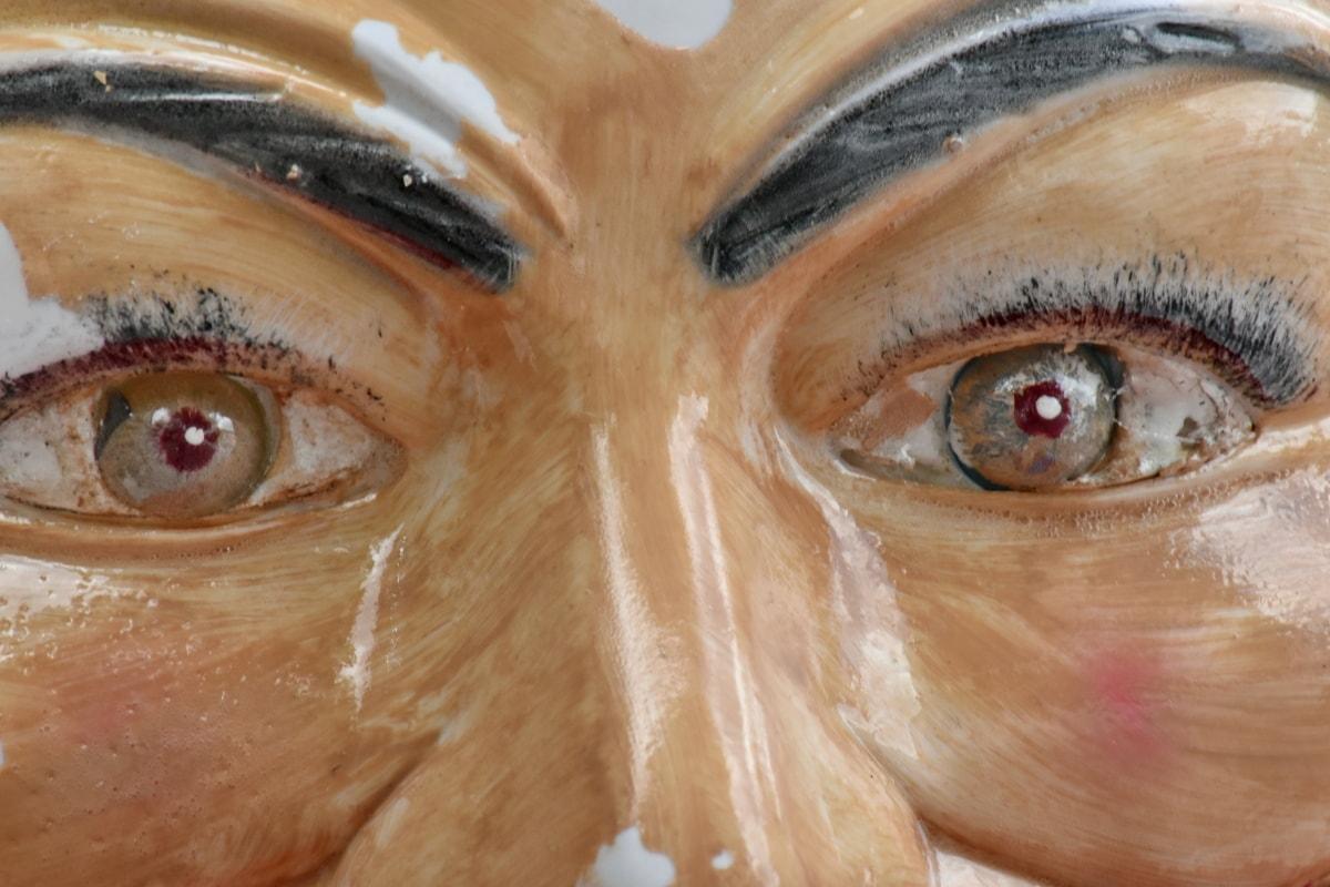 หน้ากาก, พลาสติก, ตา, ลูกตา, ผิว, ใบหน้า, แนวตั้ง, ผม, ศิลปะ, คน