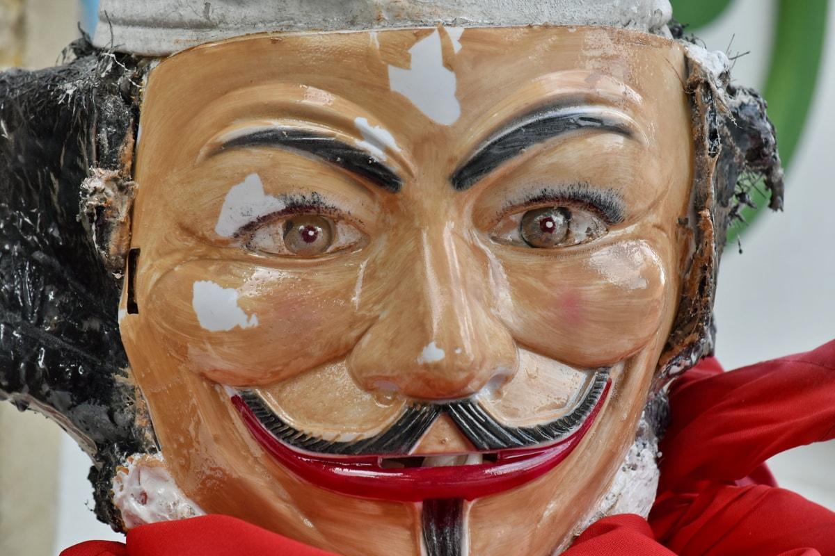 Detail, handgefertigte, Maske, Kunststoff, Kleidung, Kleidung, Gesicht, Verkleidung, Spaß, Porträt