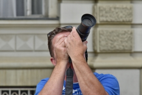 paparazzi, photographer, photojournalist, man, portrait, outdoors, lens, focus, city, urban