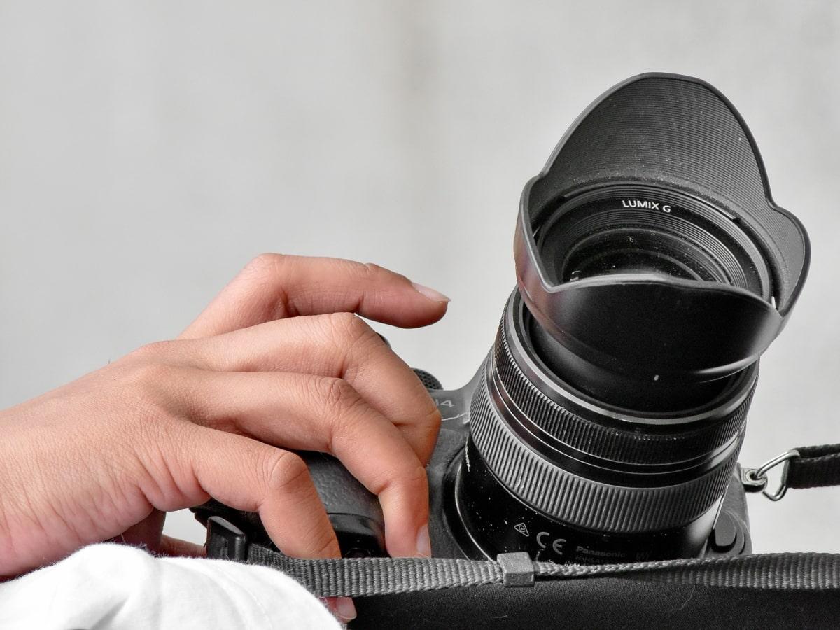 kameran, hand, paparazzi, fotograf, professionella, lins, elektronik, bländare, teknik, maskiner