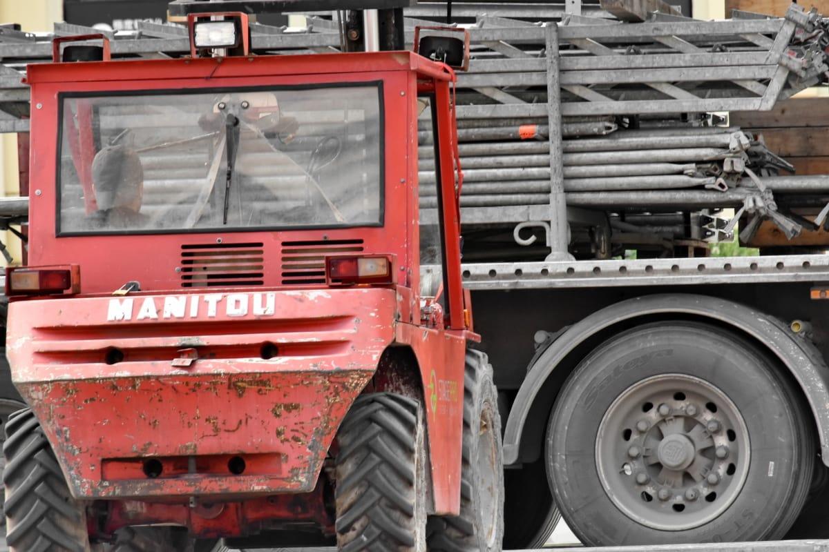 ładunek, wózek widłowy, Przyczepa, ciężarówka, pojazd, ciągnika, przemysł, Maszyny, Maszyny, Sprzęt
