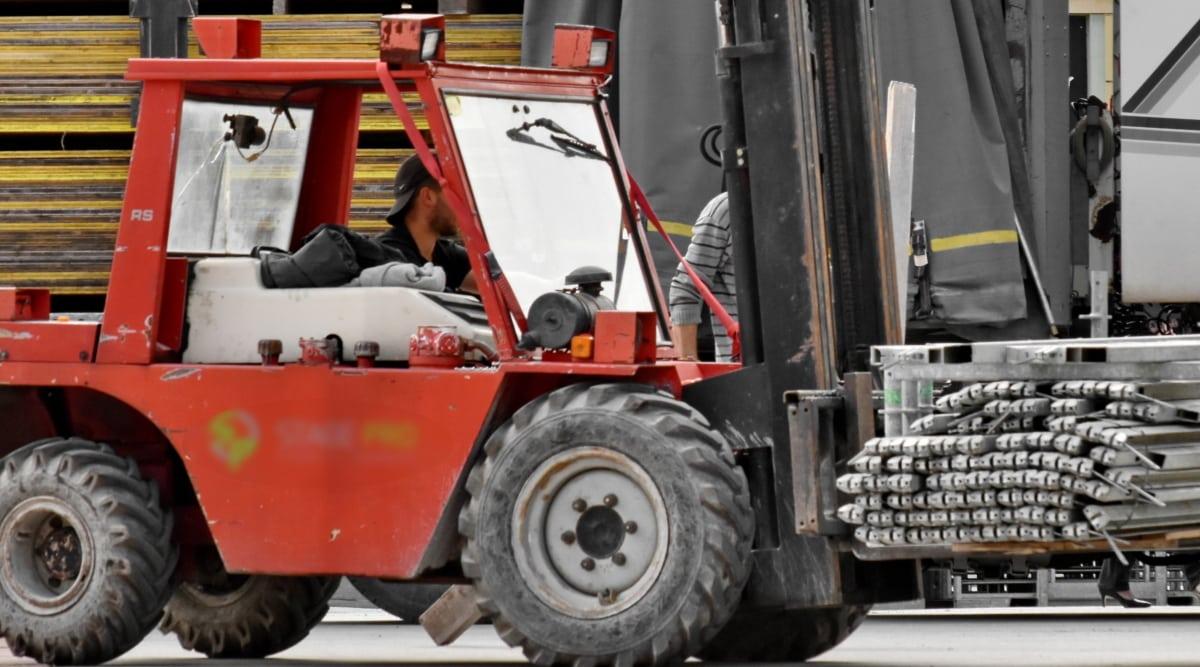 지게차, 차량, 트럭, 기계, 산업, 기계, 무거운, 사람들, 상거래, 비즈니스