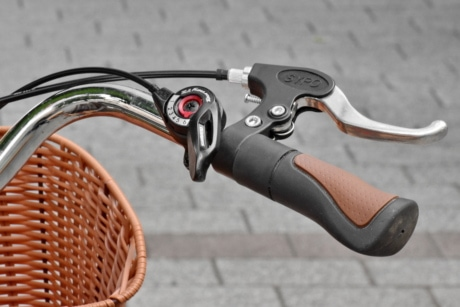 bicycle, gearshift, metallic, steering wheel, wicker basket, outdoors, steel, classic, equipment, old