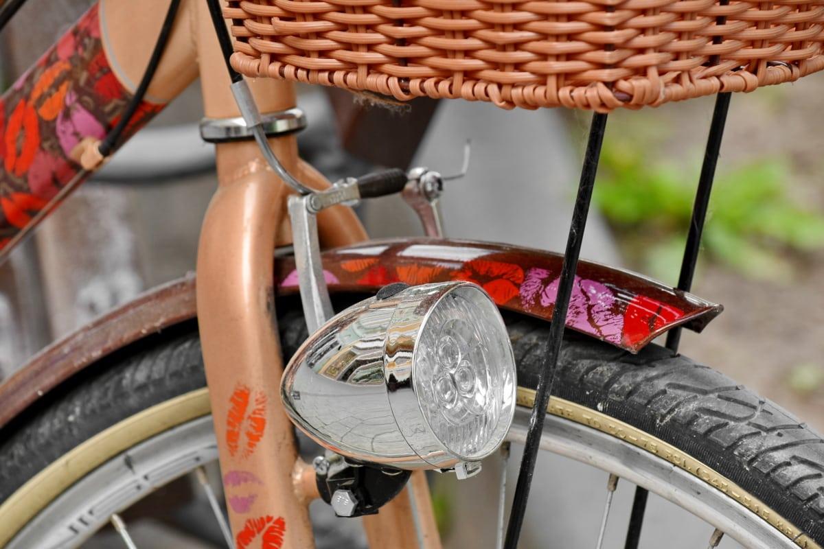 cykel, forlygte, årgang, vidjekurv, gamle, udendørs, hjulet, klassikko, retro, cykel