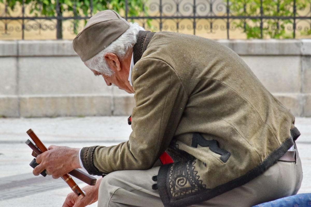 starší, muž, staromódny, oblečenie, dôchodca, starší ľudia, pouličné, vonku, staré, portrét