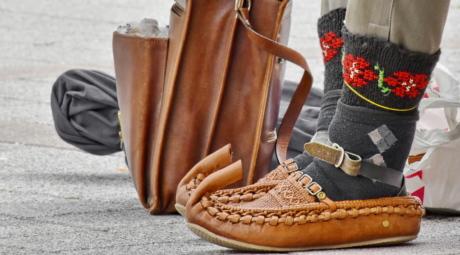 Heritage, Serbien, skor, traditionella, skor, läder, foten, mode, skon, gata