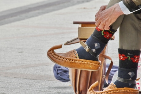 heritage, old fashioned, old style, shoes, footwear, outdoors, foot, leather, man, street