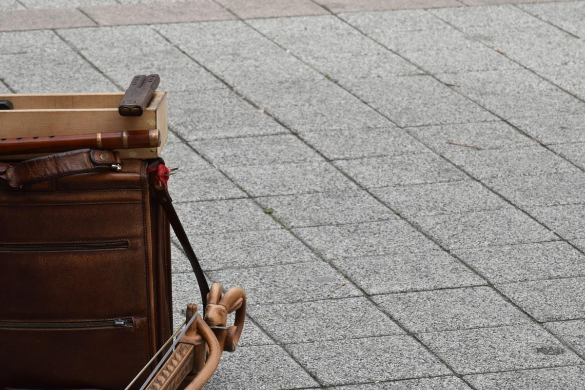 přístroj, hudba, dlažba, zavazadlo, cesta, městský, staré, ulice, venku, textura