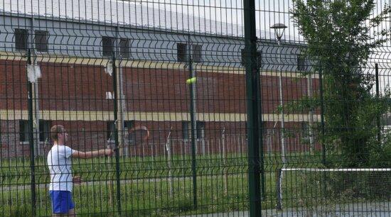 tennis, tennis court, tennis racket, prison, fence, architecture, building, outdoors, city, web