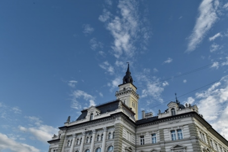 angle, baroque, city hall, facade, tower, building, architecture, palace, outdoors, old