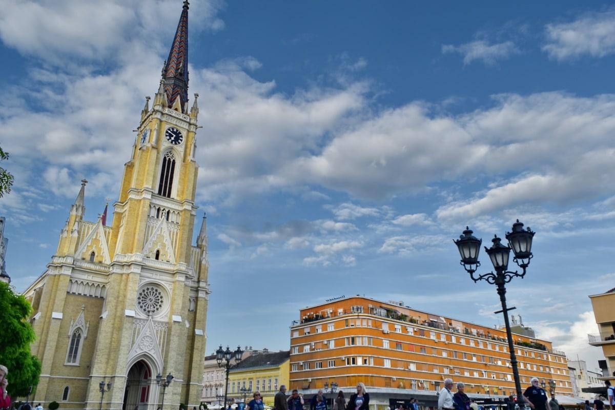 publikum, sentrum, turisme, turist, turistattraksjon, tårnet, byen, bygge, kirke, landemerke