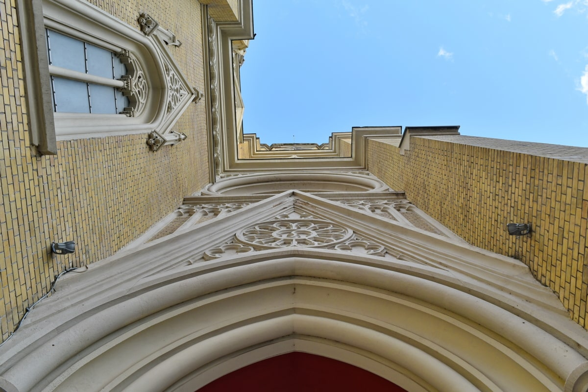 angle, arches, church tower, perspective, architecture, building, church, religion, art, outdoors